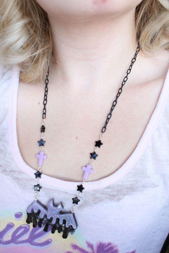 Creepy Cute Black x Lavender Bat Necklace by kittywooddesigns