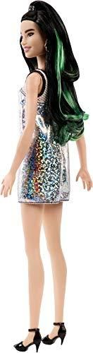 Barbie Fashionistas Doll with Green Streaks in Long Brunette Hair, Wearing Glittery Tank Dress and Accessories, for 3 to 7 Year Olds Gallery