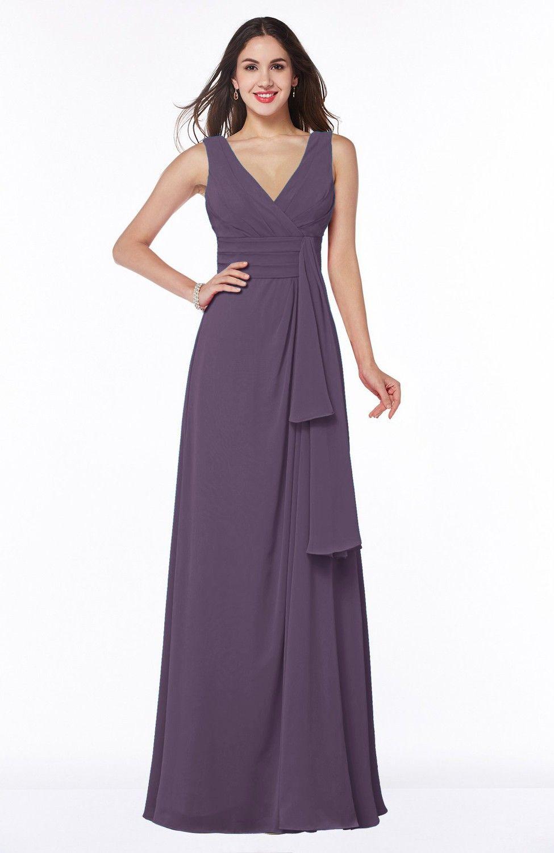 Eggplant Bridesmaid Dress - Vintage Sleeveless Zipper Floor Length ...