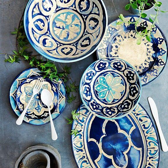 Beautiful Blue Byzantine Melamine Platter And Dinnerware