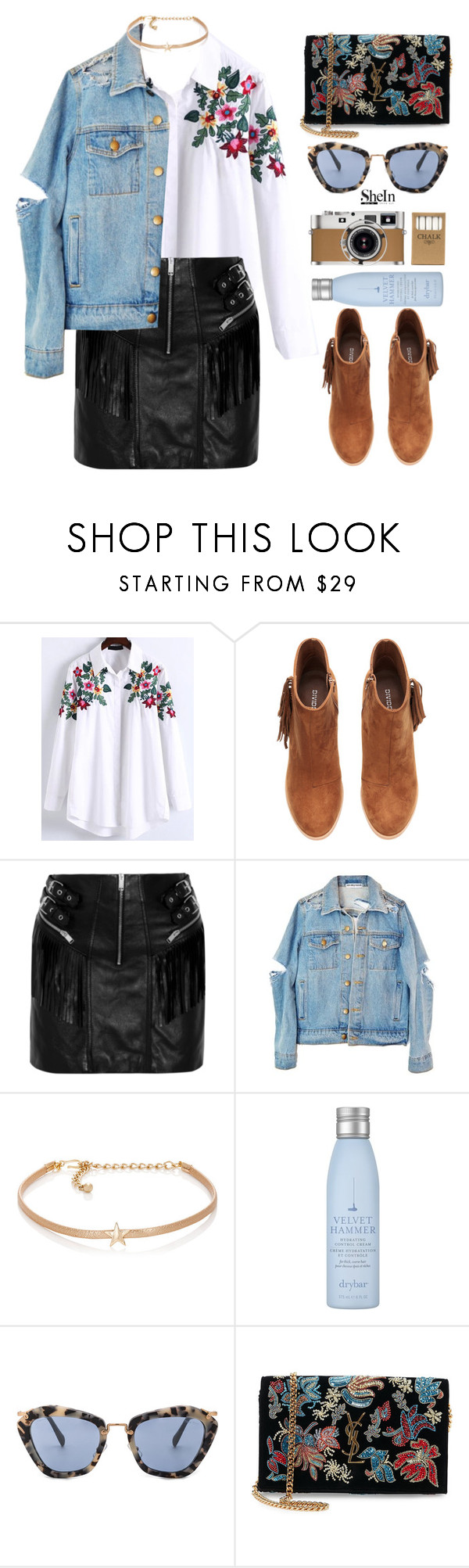 """""""Lets find ourselves lost for hours, until we find ourselves a drink."""" by kristinadyomina ❤ liked on Polyvore featuring WithChic, H&M, Yves Saint Laurent, Kenneth Jay Lane, Drybar, Miu Miu, Hermès and Jayson Home"""