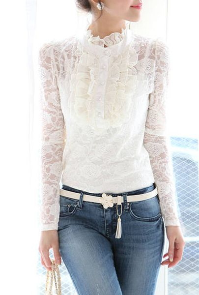 Wholesale Elegant Style Long Sleeves Turtleneck Solid Color Lace  Single-Breasted Blouse For Women (With Strap Vest) (WHITE,L… | Camisa de  renda, Moda, Moda feminina