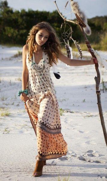 Bohemian long dress style at beach