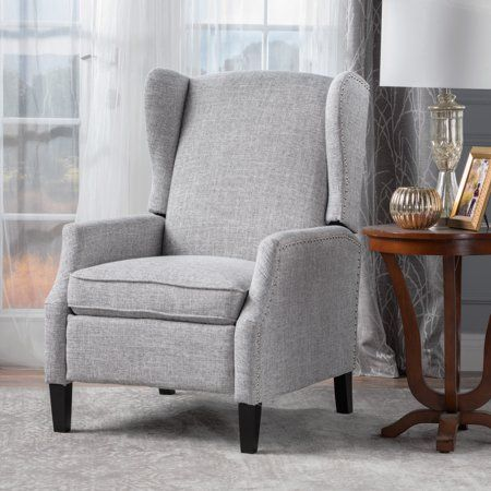 5b4343901845 Noble House Allan Wingback Traditional Fabric Recliner, Light Grey Tweed,  Gray