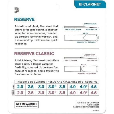 Strength 2.0 10-pack D/'Addario Reserve Classic Bb Clarinet Reeds