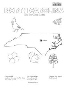 fun North Carolina United States coloring page for kids