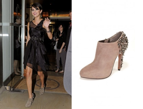 b81228998ef1 Selena Gomez wearing Sam Edelman Renzo Booties Celebrity Shoes