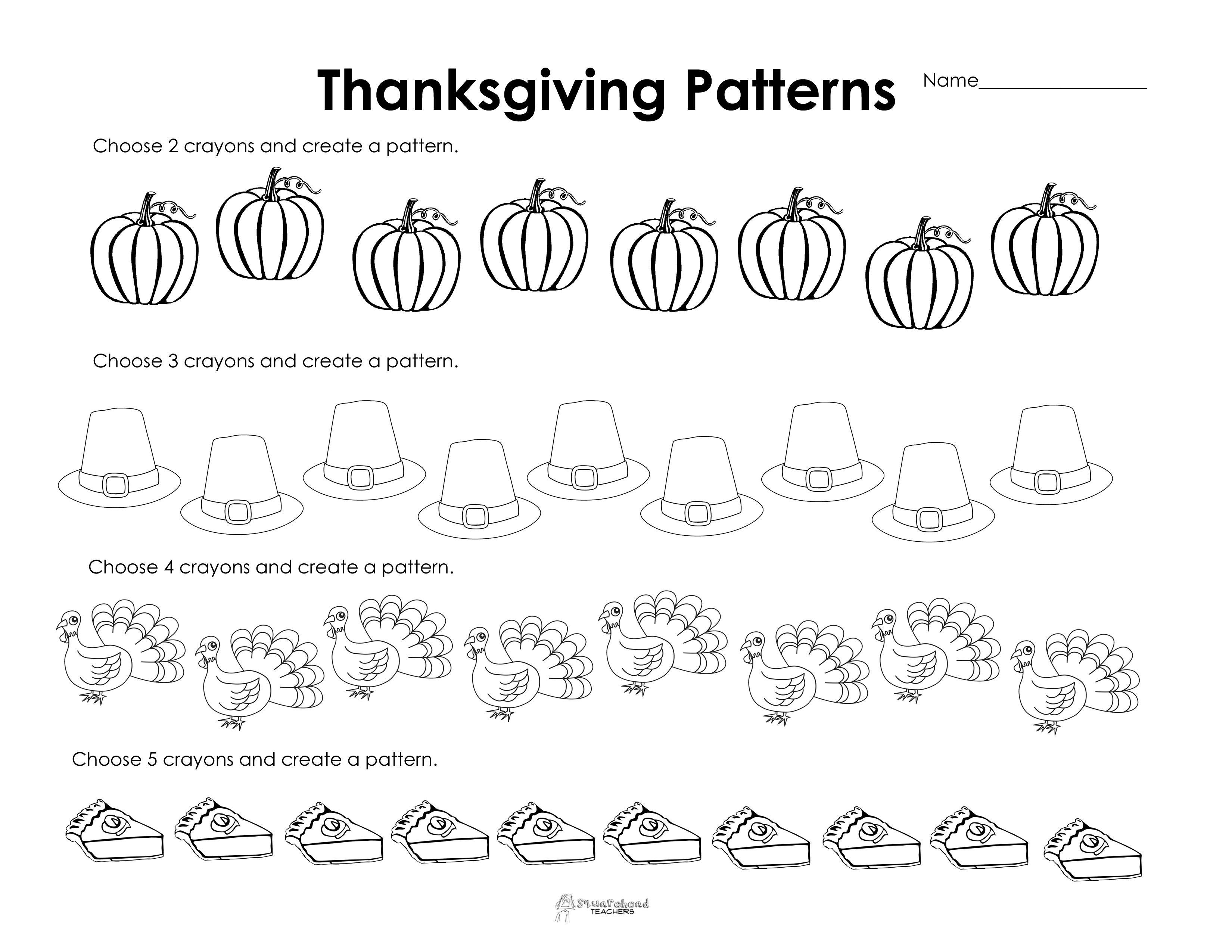 Making Patterns: Thanksgiving Style (free worksheet!)   Thanksgiving  worksheets [ 2550 x 3300 Pixel ]