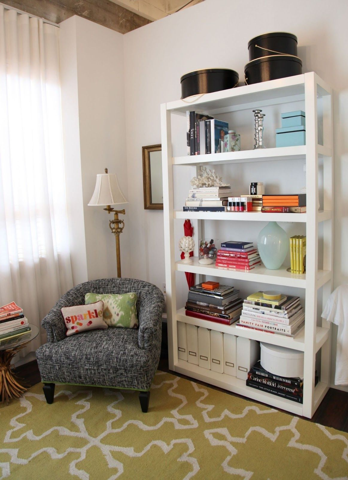 Parsons Bookshelf From West Elm In The Who What Wear Office Via Habitually Chic