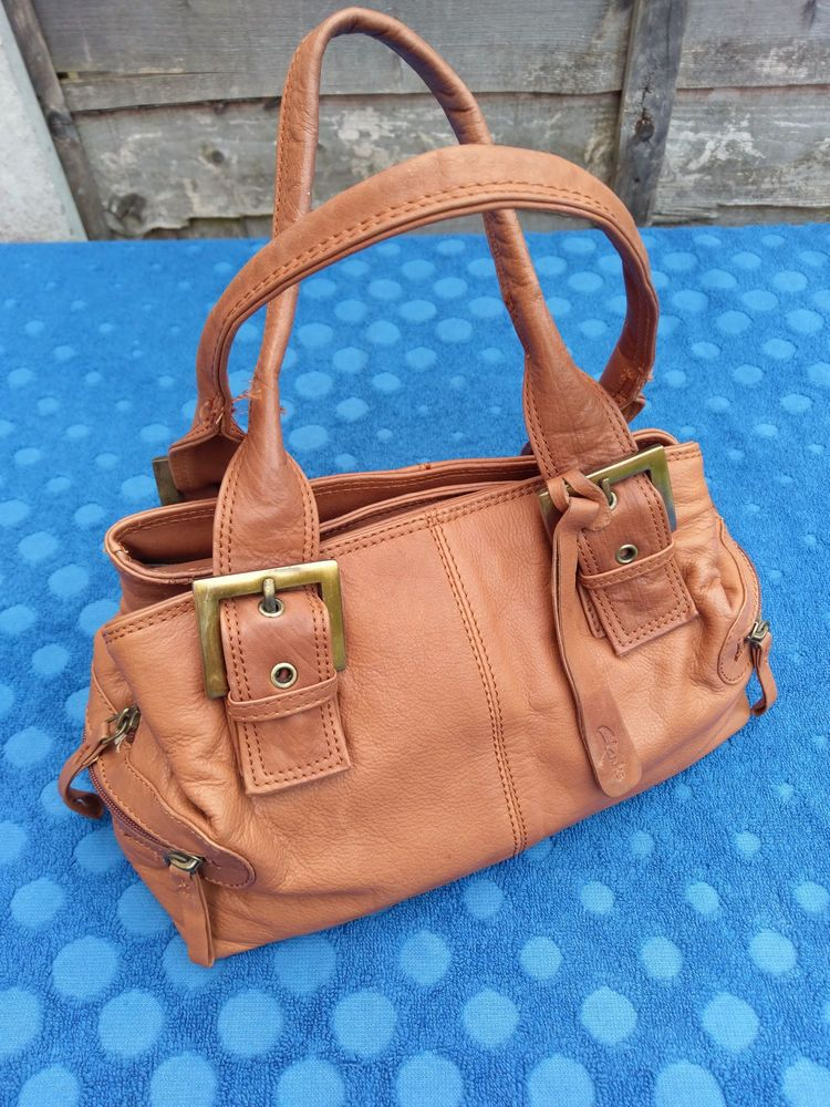 Womens Leather Bag Handbag by Clarks Tan Colour With Lots Of