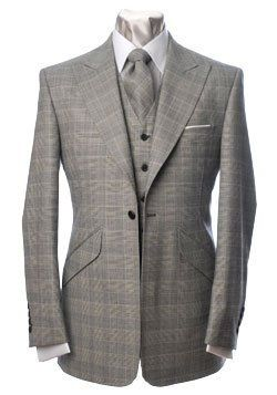 Grey window pane suit jacket & tie.
