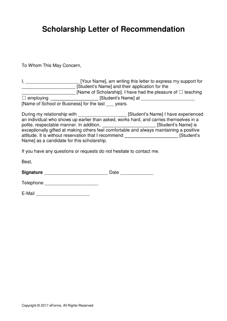 free scholarship recommendation letter template with samples pdf word eforms free fillable forms