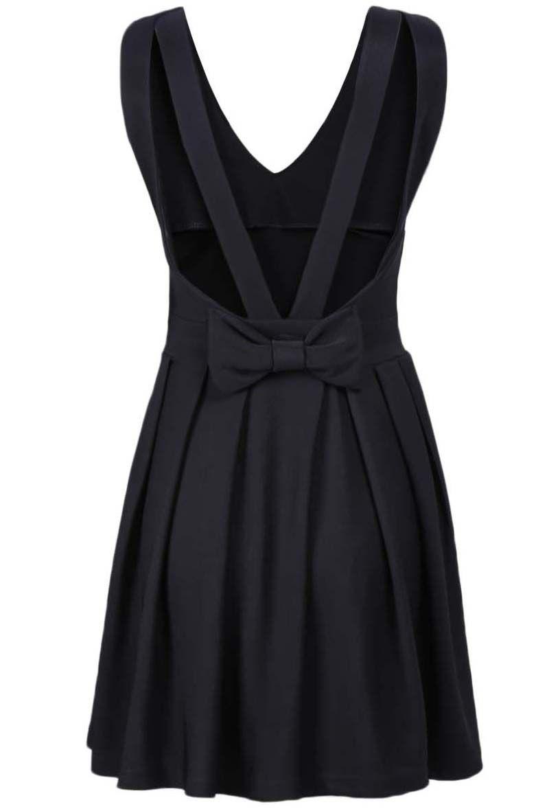 Vestido cuello redondo lazo sin manga-negro 12.90