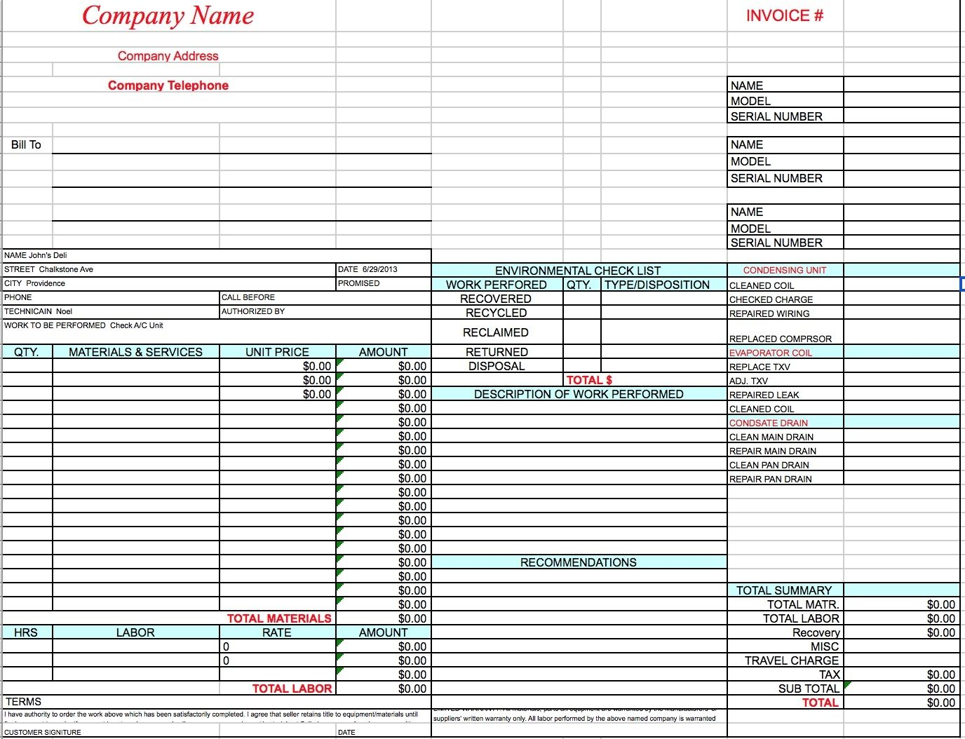 Free Hvac Invoice Template Excel Word Doc Hvac Invoice