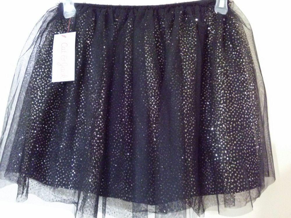 c7751e536d NWT Cat & Jack Black Gold Glitter Polka Dot Tutu Skirt M 7/8 | Girls ...