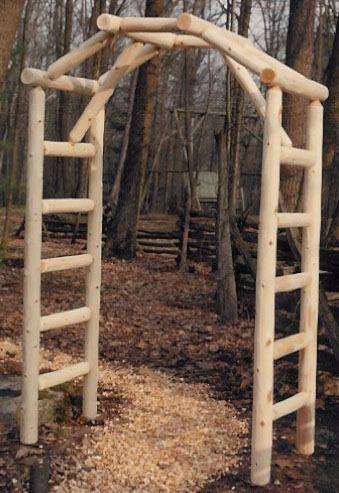 Cedar Log Arched Arbor With Images Rustic Log Furniture Log