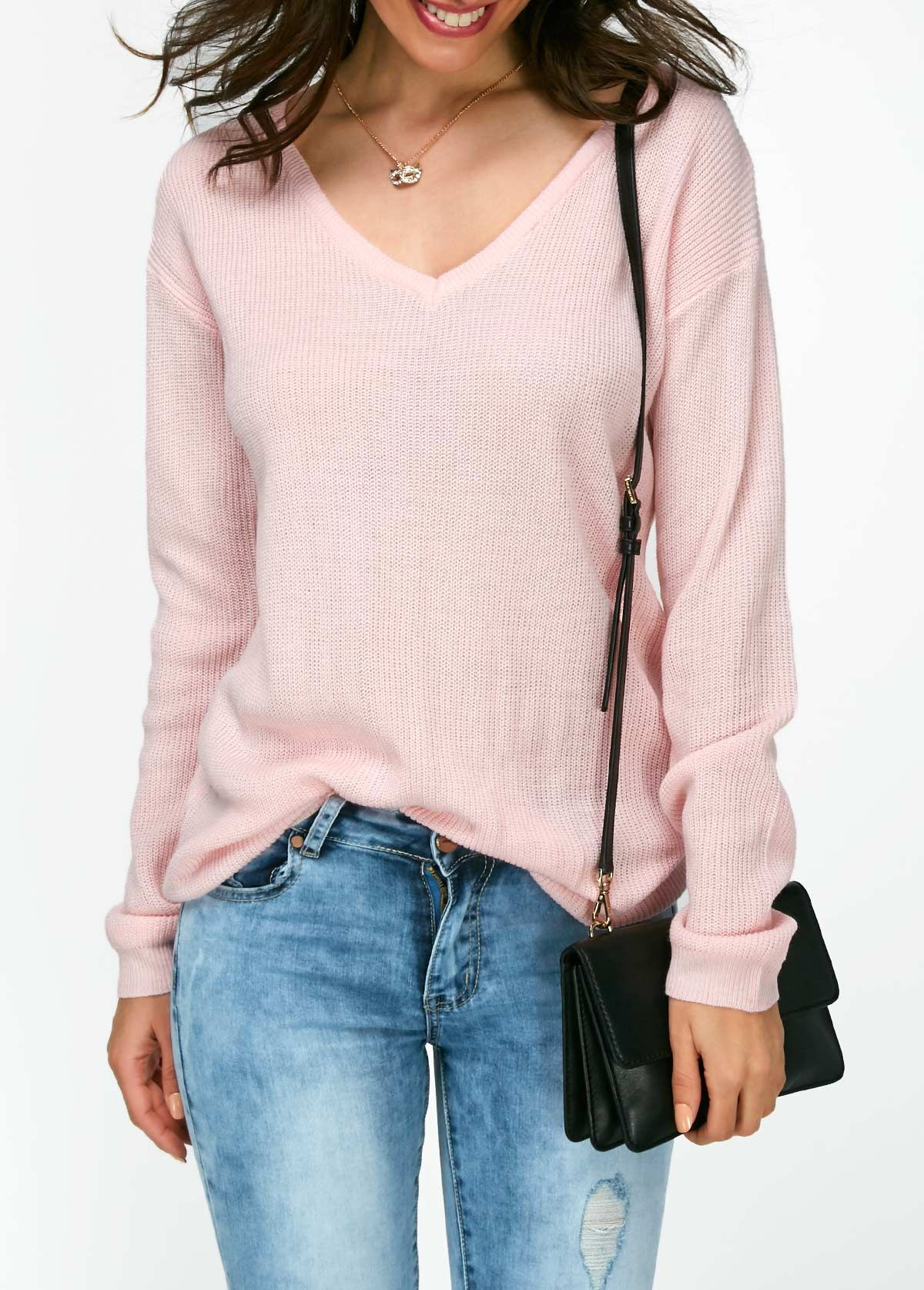V Neck Long Sleeve Pink Sweater | Clothing