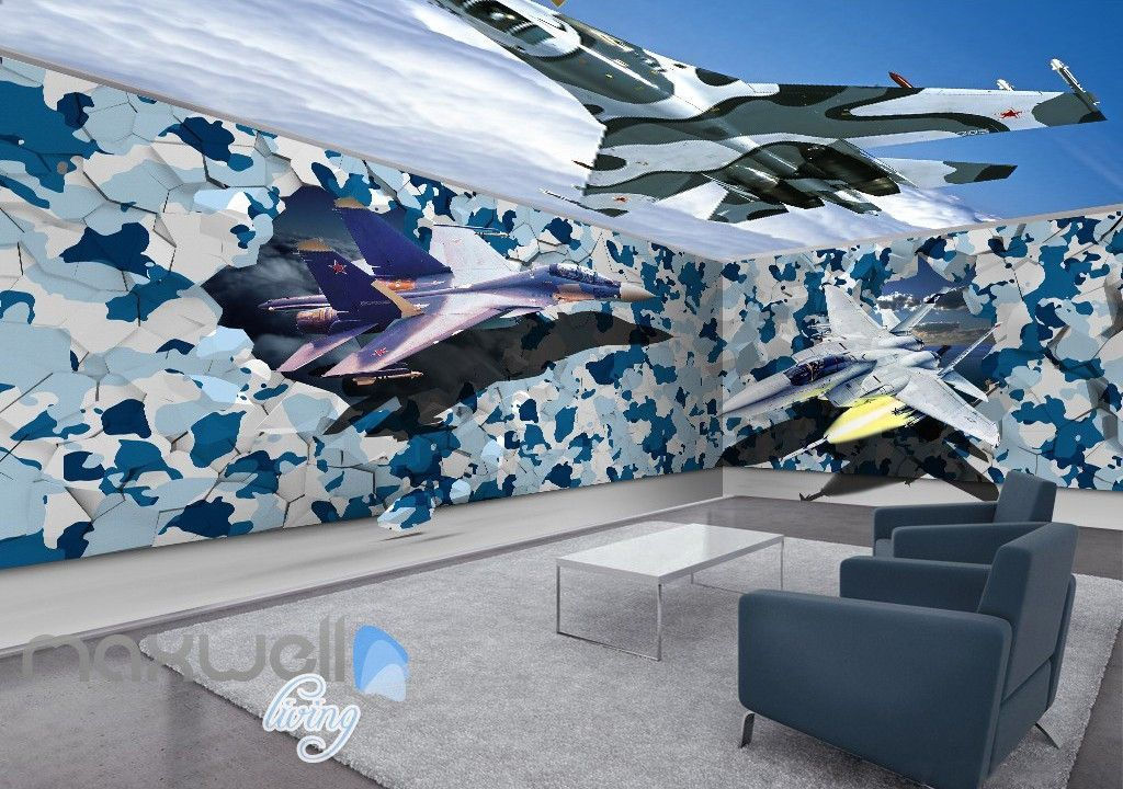Best 3D Fighter Plane Blue Sky Entire Room Ceiling Wall Murals 640 x 480