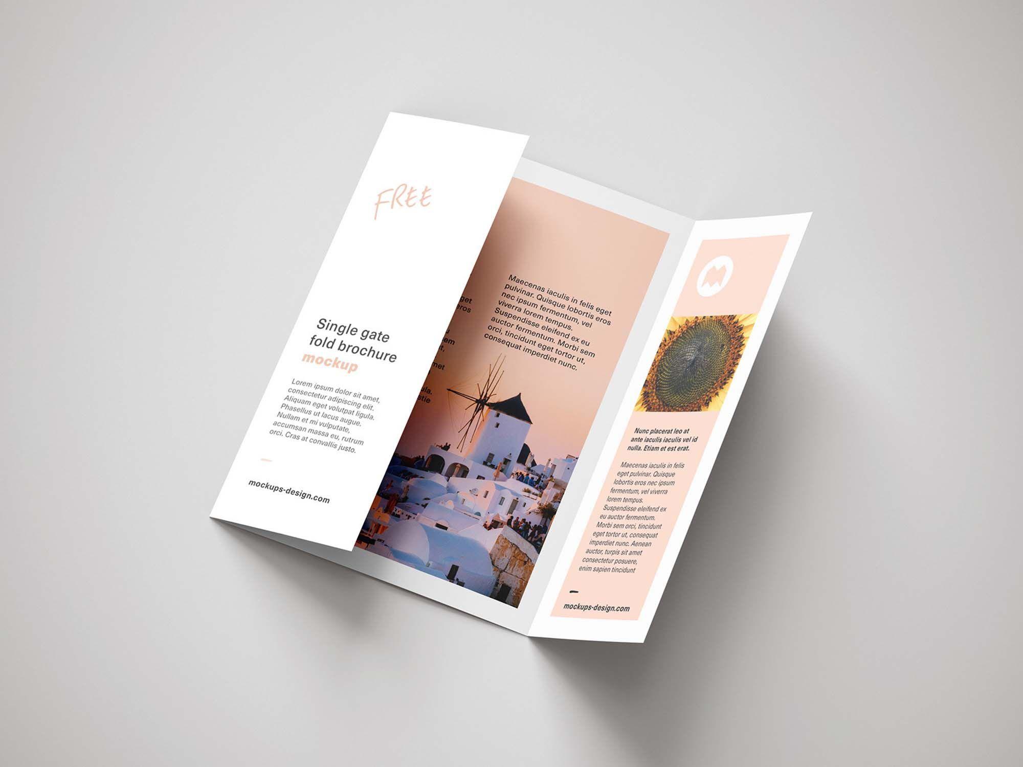 Free Single Gatefold Brochure Mockup (PSD) Brochure
