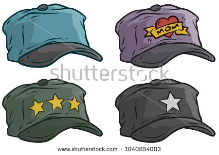 84a2d30d4822c Cartoon different colorful cap or hat with stars and heart. Vector icon set.