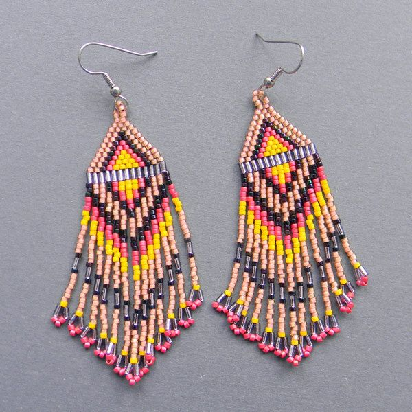 Long Native American  Seed Bead Earrings in peach by Anabel27shop, $19.00