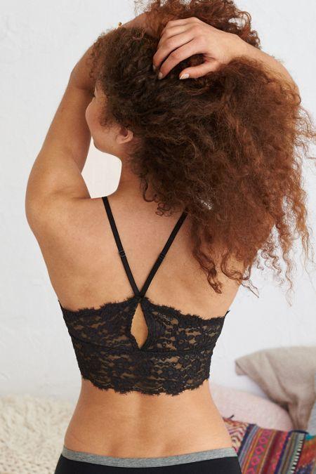 5cfd23bf1f597 Soft stretchy black lace bralette top. Aerie Romantic Lace Longline Bralette