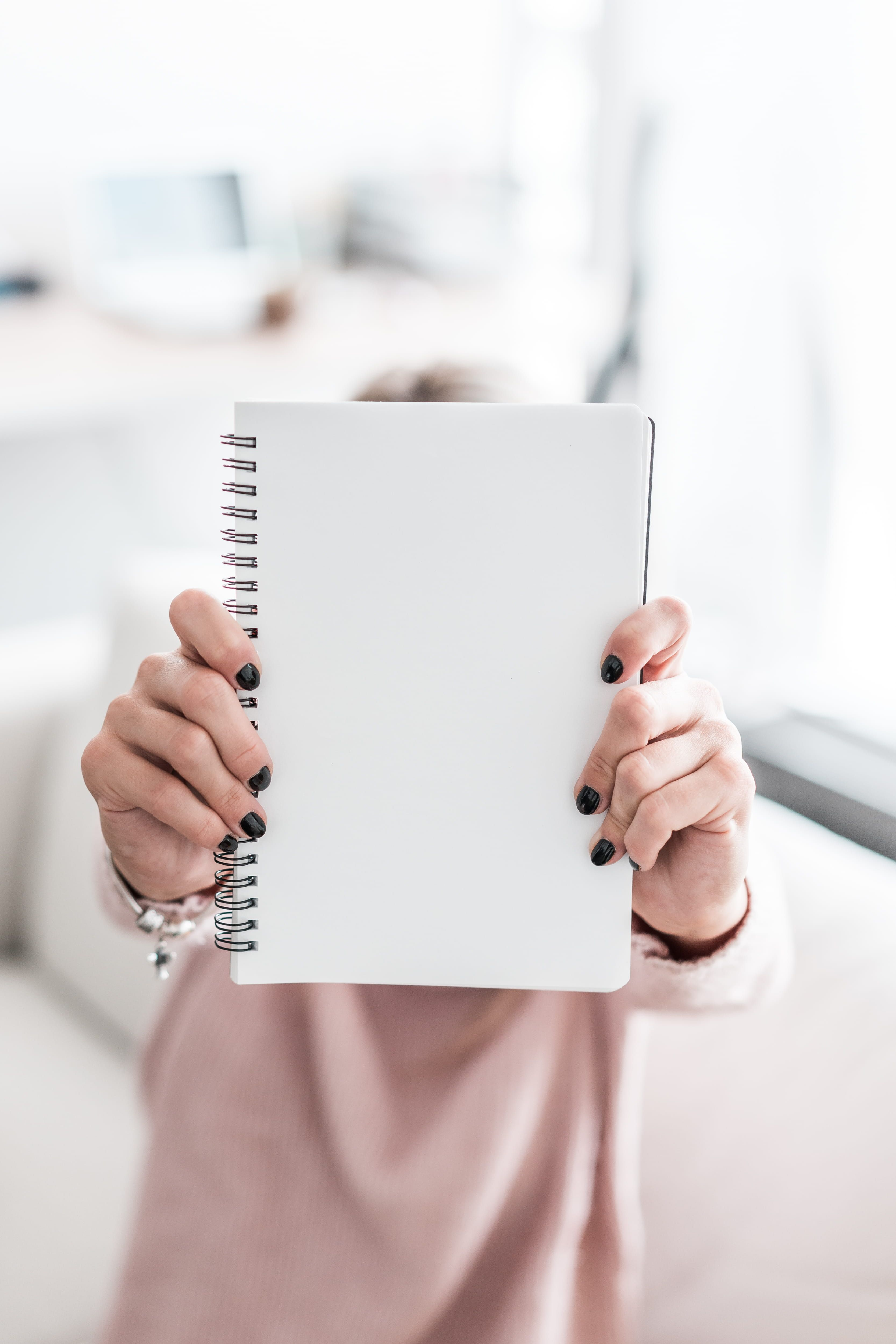 Woman Holding Blank Notebook Blank Business Girl Hands Holding Mockups Nails Notebook Paper To Instagram Nails Free Notebook Instagram Frame Template