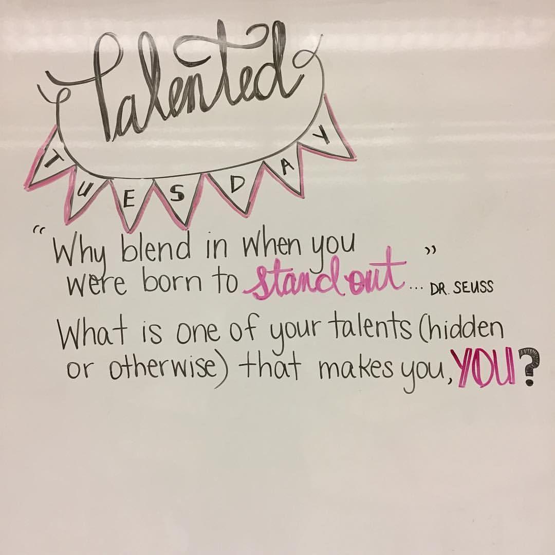 "49 Likes, 1 Comments - Janna (@lovin7th) on Instagram: ""What are some of your talents? #miss5thswhiteboard #teachersofinstagram #teachersfollowteachers…"""