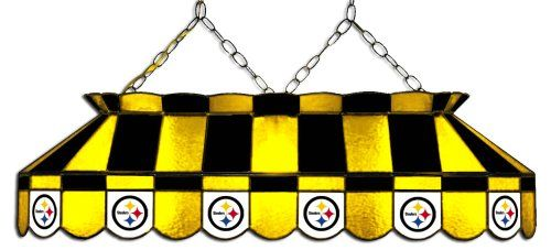 Pittsburgh Steelers 40-Inch Rectangular Stained Glass Pool Table Light