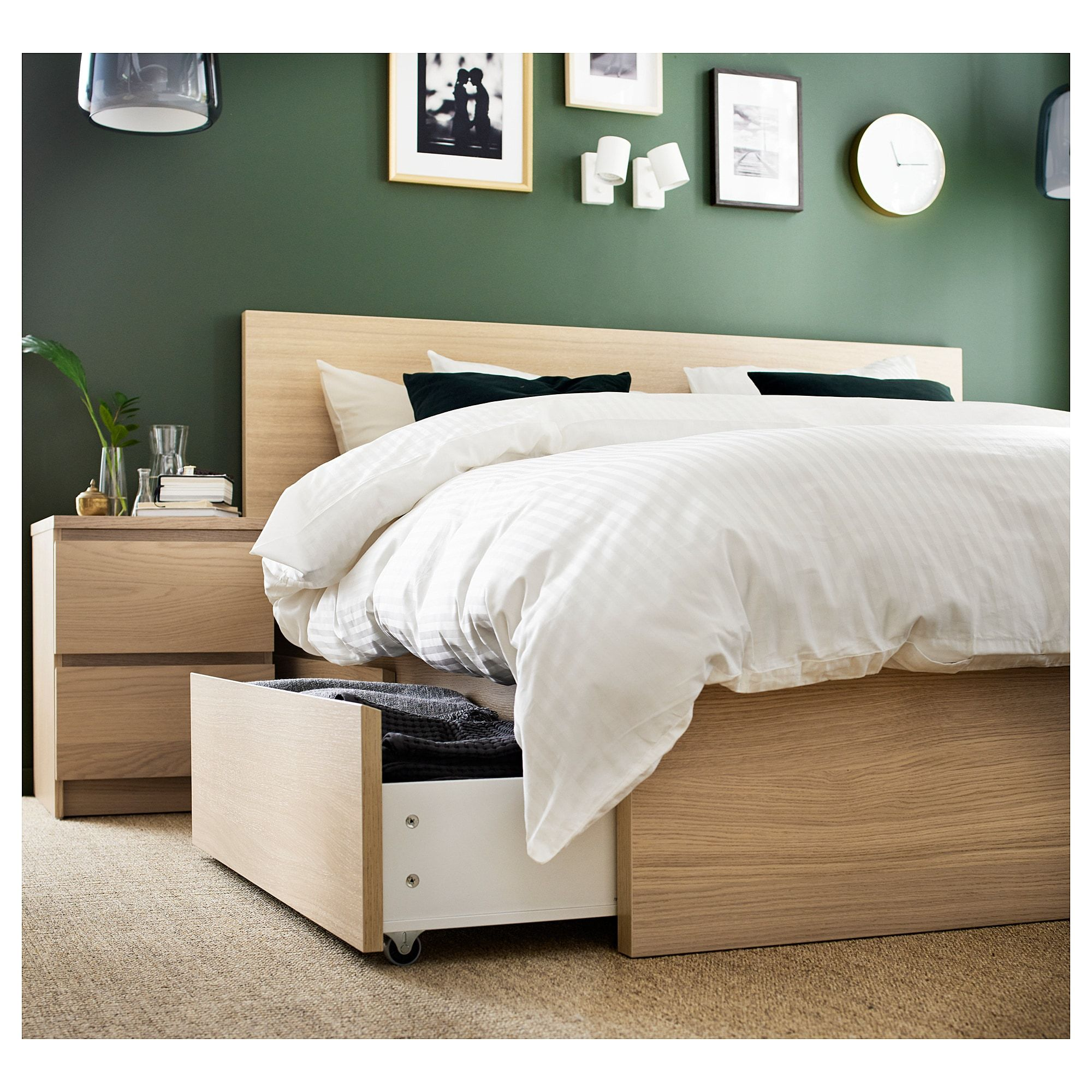 Ikea Malm White Stained Oak Veneer High Bed Frame 2 Storage Boxes