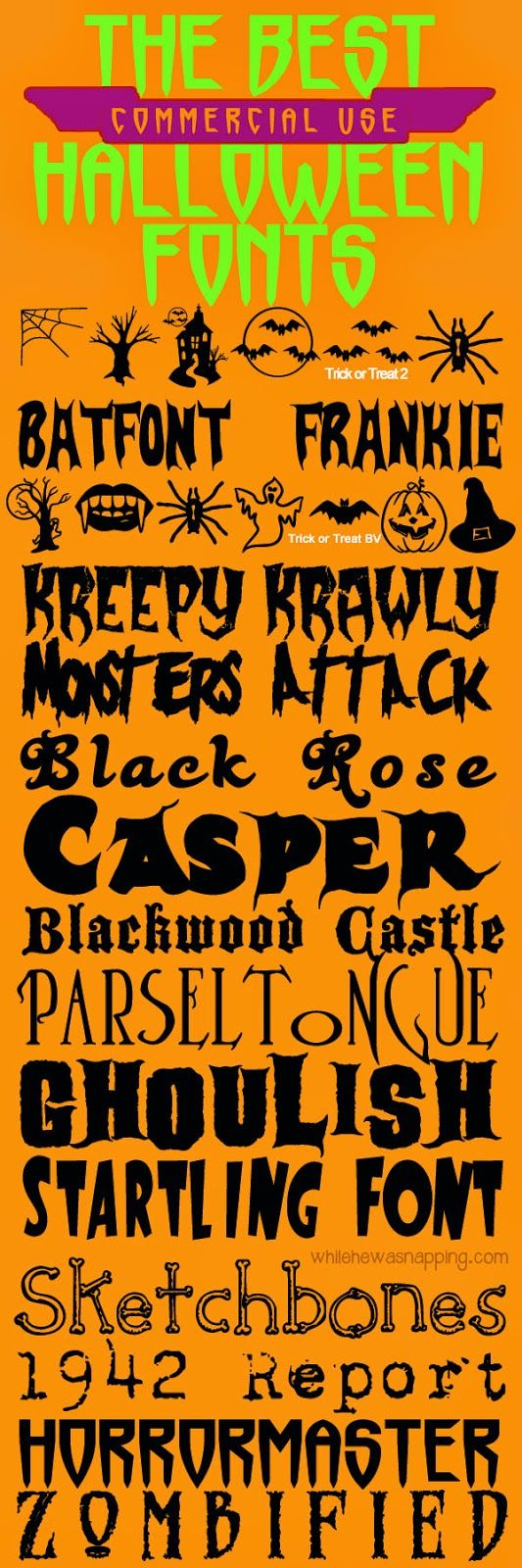 While He Was Napping: {October Spooktacular} 16 of The Best (Commericial Use Friendly) Halloween Fonts