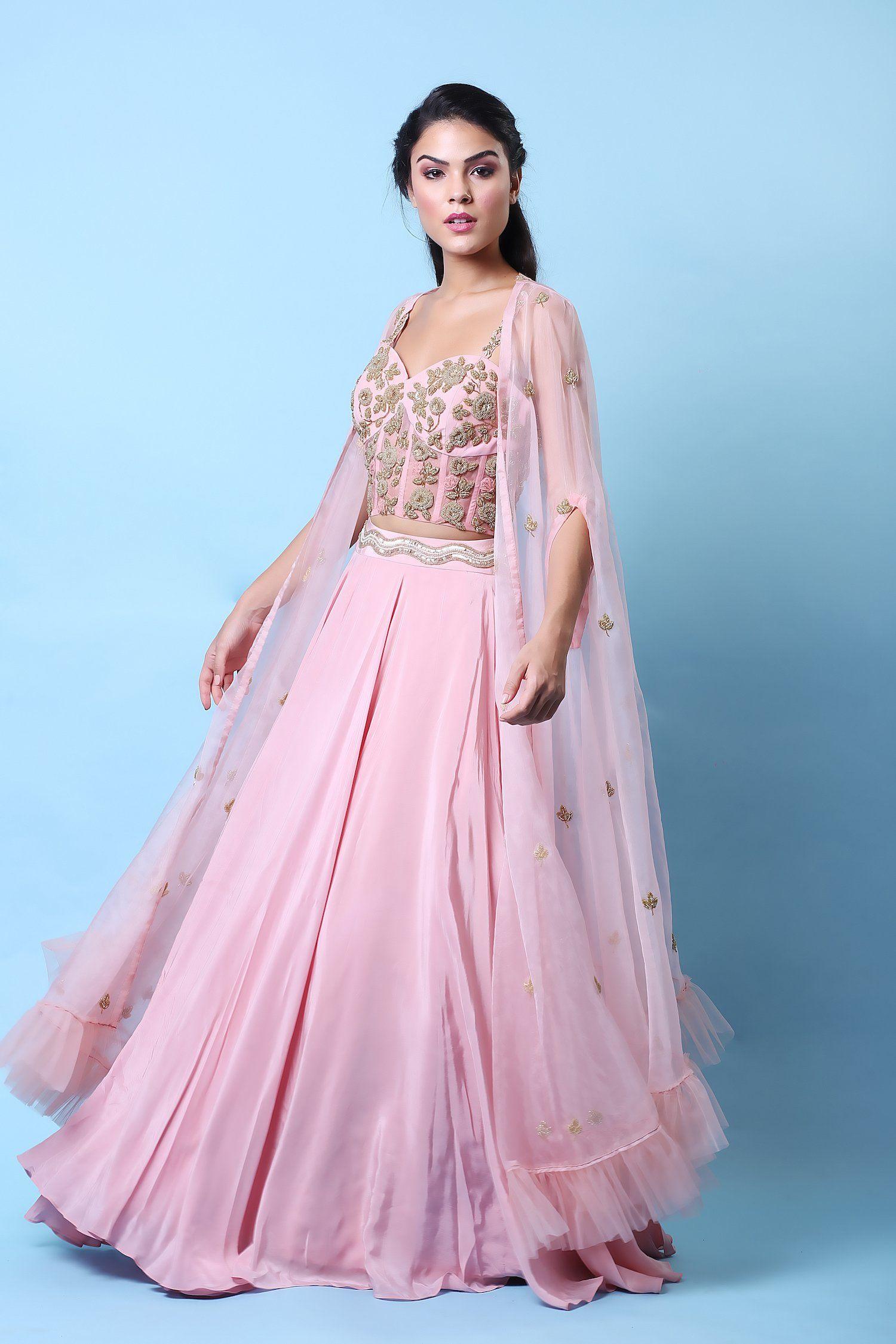 Rose Corset Cape Lehenga Set in 2020 Designer bridal
