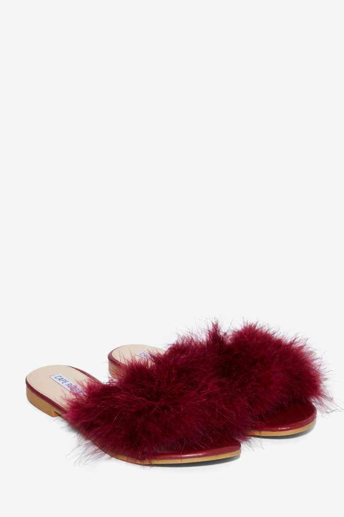 76056b3323e Valley Girl Feather Slide Sandal - Burgundy - Shoes