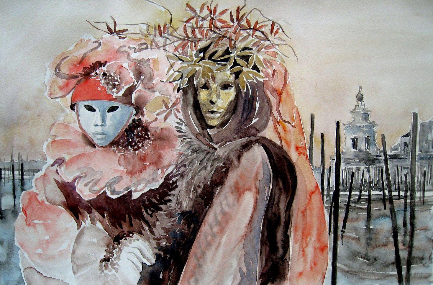 Aquarelle Armelle Delaplace Aquarelle Carnaval De Venise Carnaval