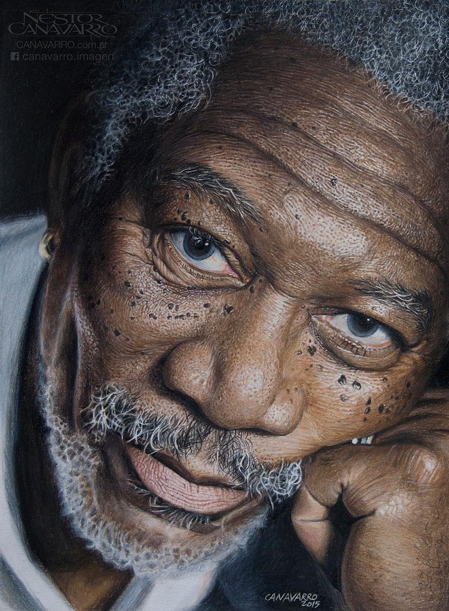 My 50 Hour High Detail Drawing Of Morgan Freeman In Color Pencils Morgan Freeman Face Drawing Portrait