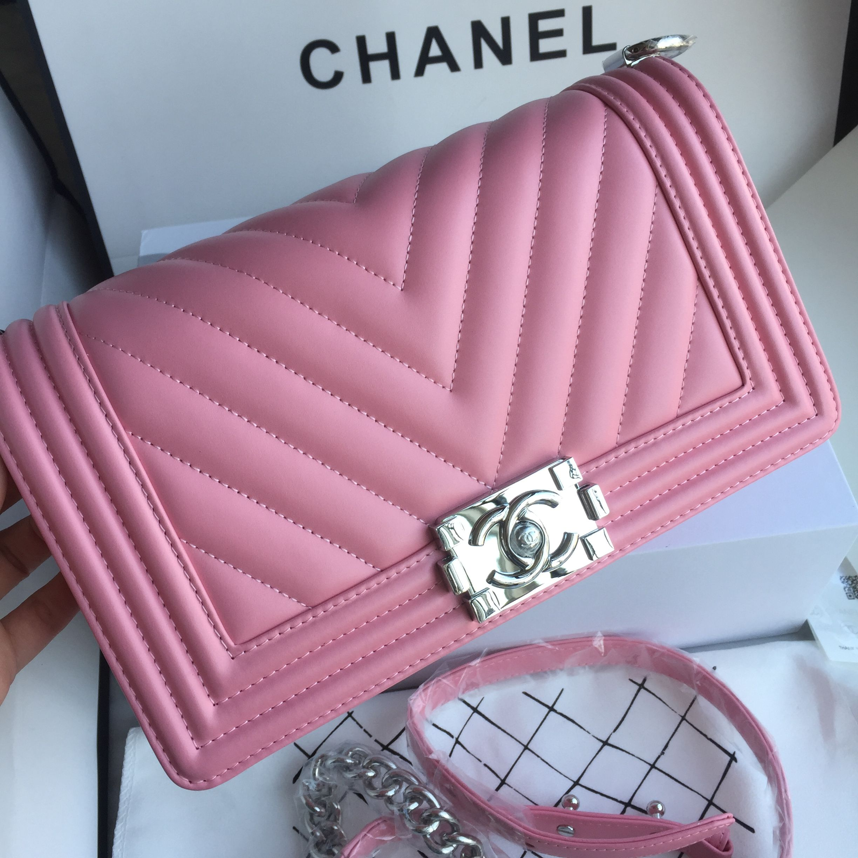 c48c7e1d3433 Chanel woman Leboy bag V pattern original leather pink | CHANEL in ...