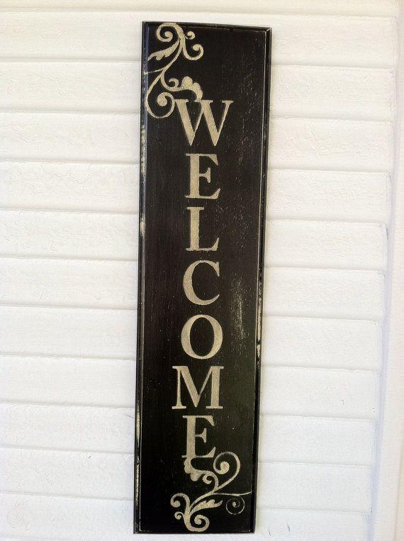Cartel Bienvenida vertical Rústico muestra agradable porche Signo de bienvenida