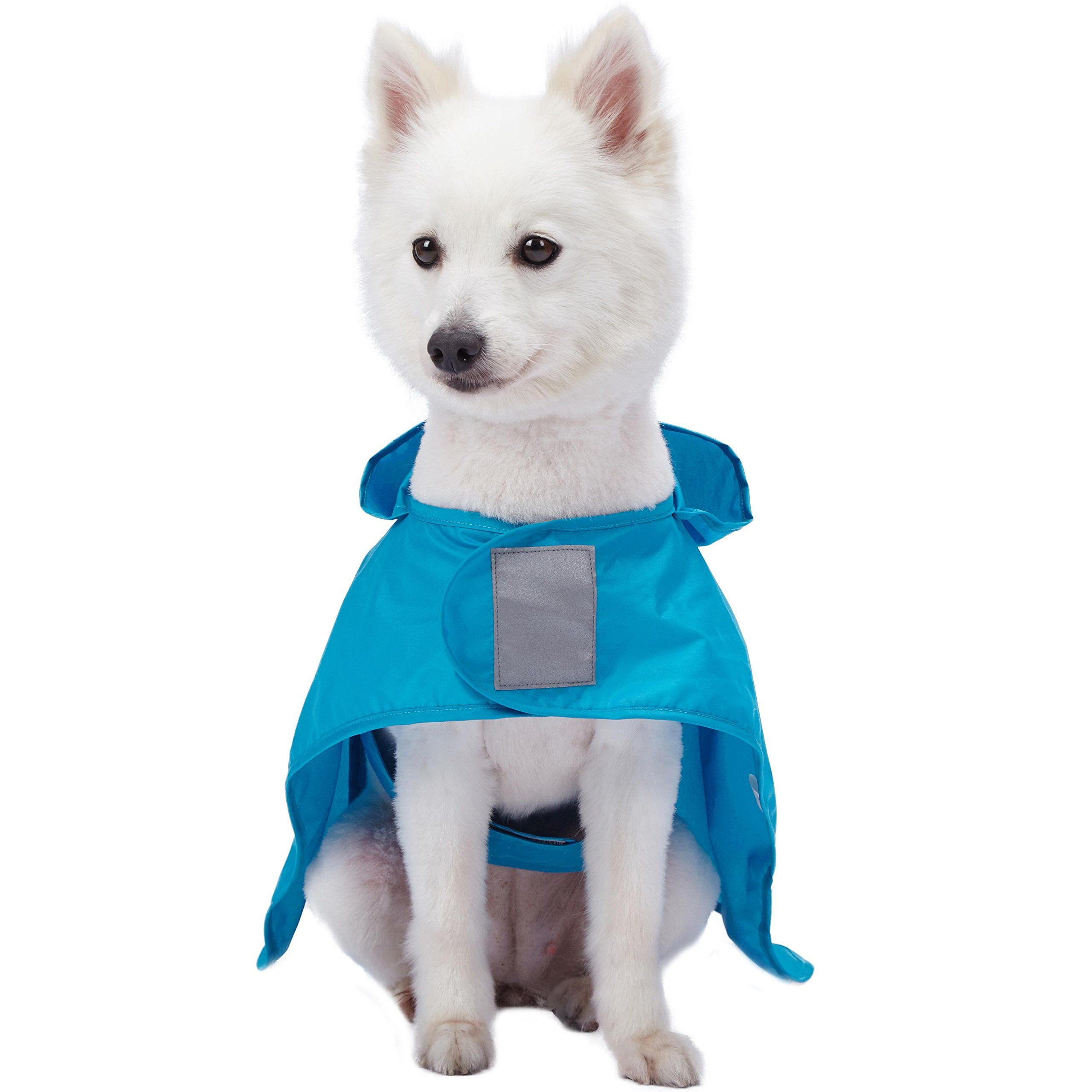Blueberry Pet 4 Colors 14 Lightweight Packable Outdoor Dog Hooded Raincoat Jacket 3m Reflective Safety Tapes In Azure Blue Pack Of Azure Blue Rain Poncho Dogs