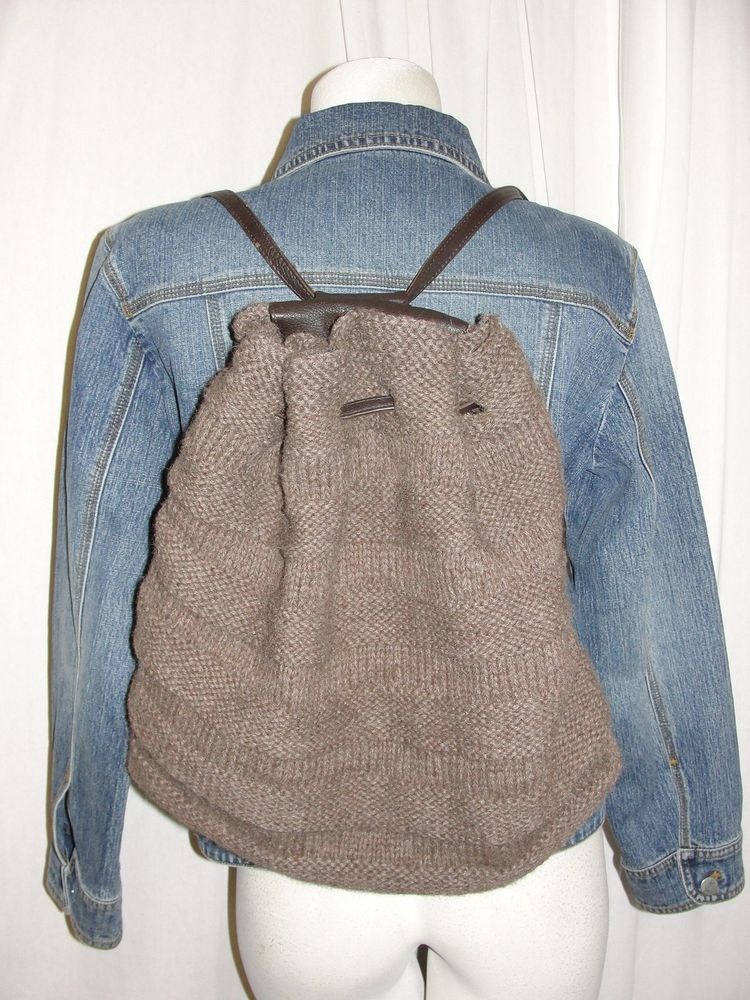 TOTE LE MONDE Brown Pebble Leather & Stripe Design Knit Bucket Backpack Tote Bag #TOTELEMONDE #BackpackStyle
