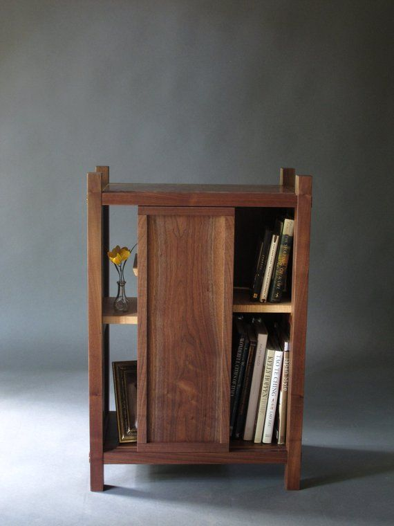 Entry Cabinet Small With Shelves Sliding Door Display Case Bookcase Mid Century M