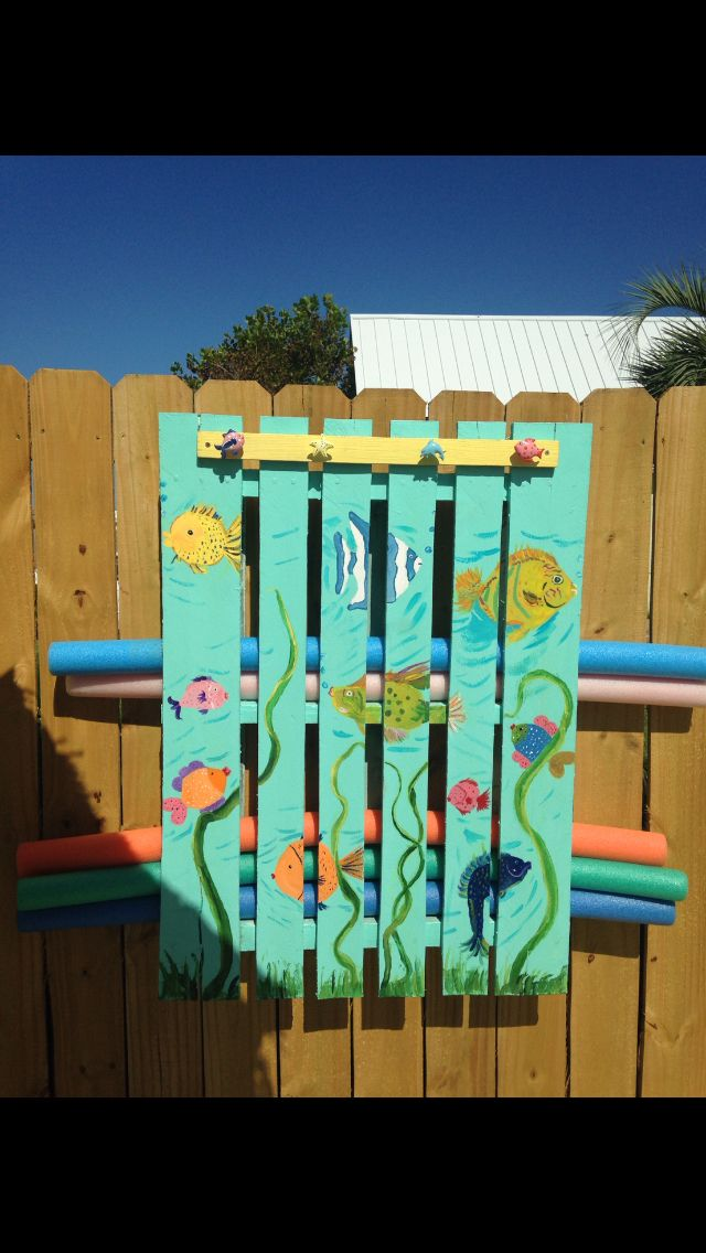 Pool Towel Storage Ideas another great storage idea for pool floats Towel Noodle Holder Pallet Poolpool Storagebeach