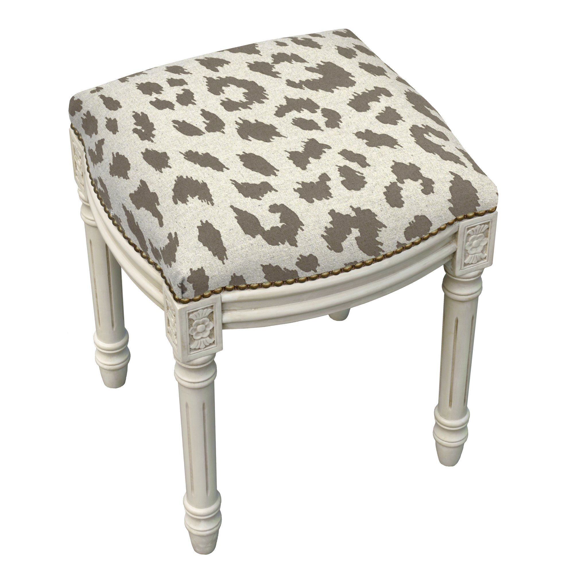 Cheetah Print Upholstered Vanity Stool | Animal Print Bench Ideas ...