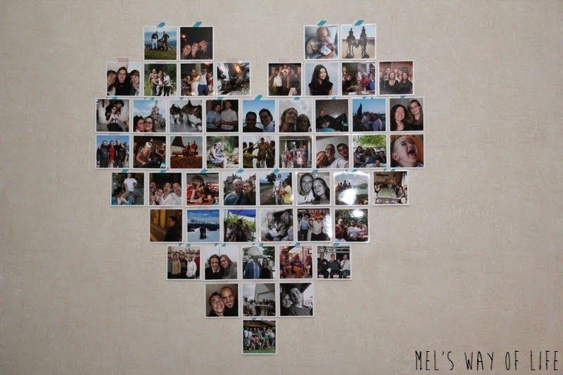 Décoration murale en forme de coeur à partir de tirages