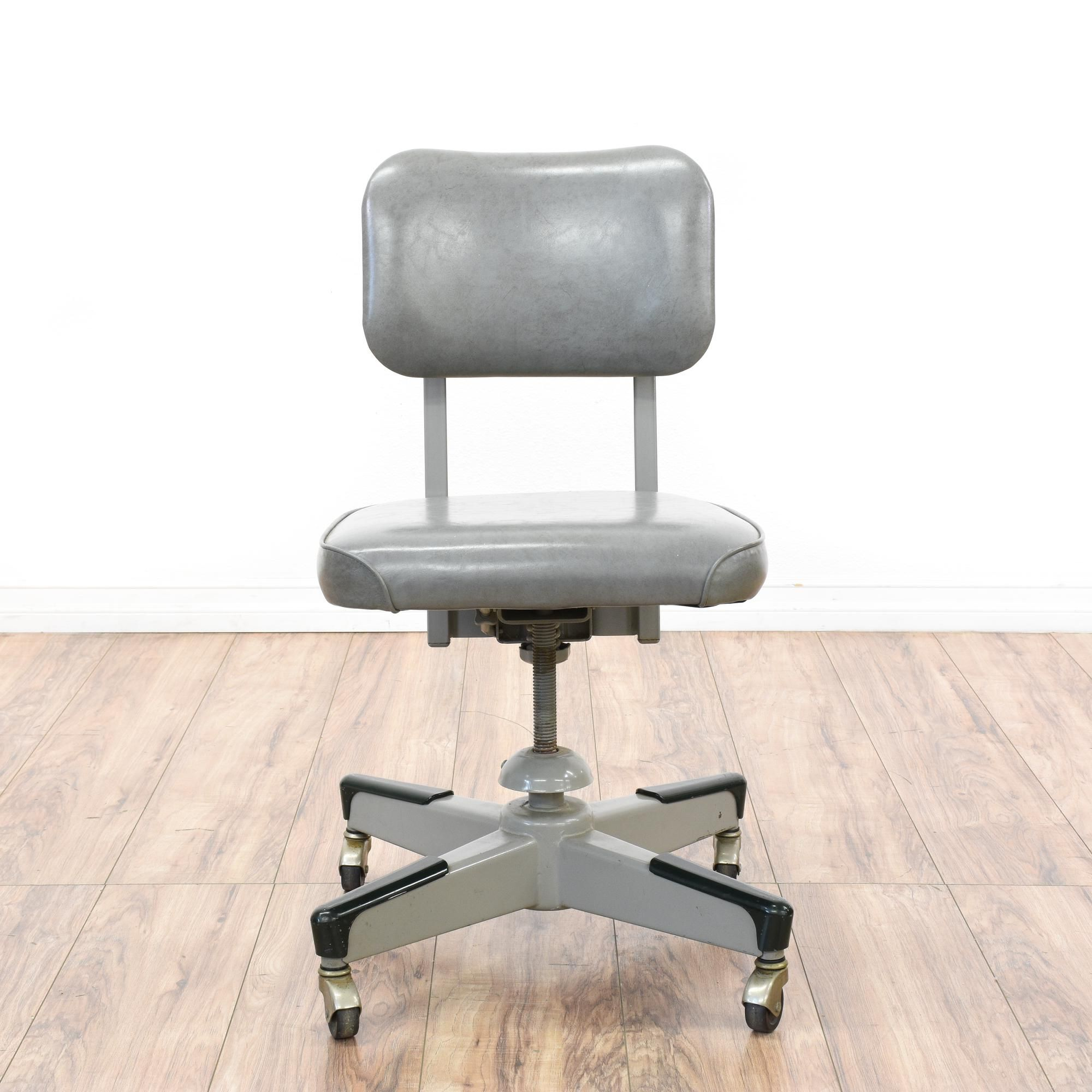 This retro industrial office chair is featured in a durable metal