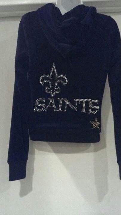 Cute velour Saints zip up hoodie!!