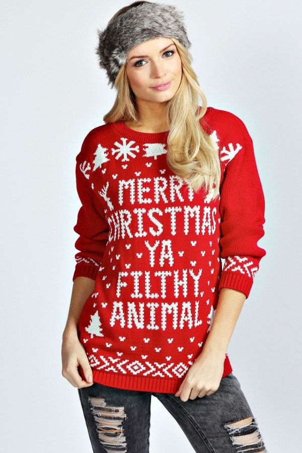 LONG SLEEVE T-Shirt Merry Christmas Ya Filthy Animal Ugly Sweater Retro Red