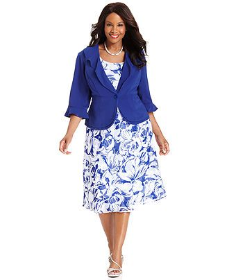 Le Bos Plus Size Dress and Jacket, Sleeveless Floral-Print - Plus ...