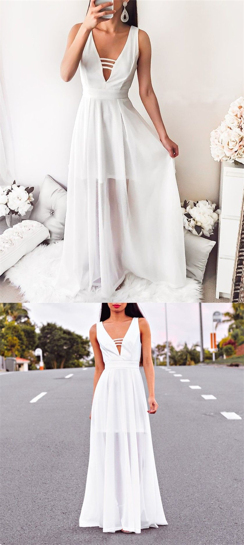 Aline deep vneck sleeveless white chiffon floor length prom dress
