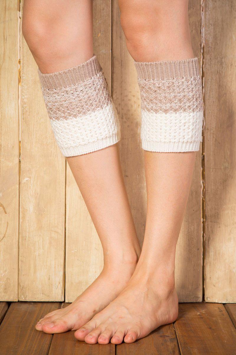 Ellady Beige Khaki Short Crochet Boot Cuffs Pattern #bootcuffs