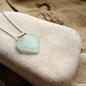 Large Aqua Sea Glass Heart Necklace
